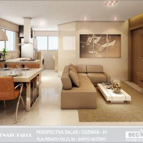 Sala e Cozinha Gourmet - Apto 01